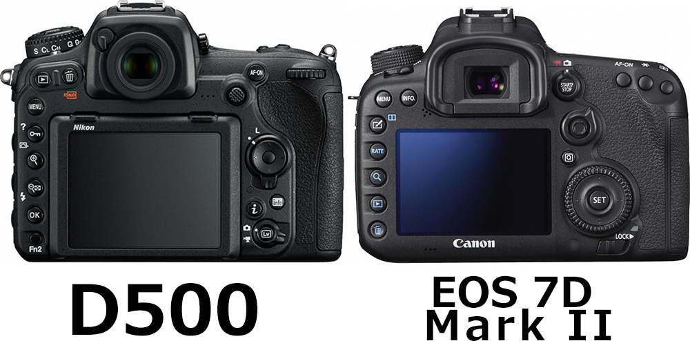 背面:D500 vs. EOS 7D Mark II