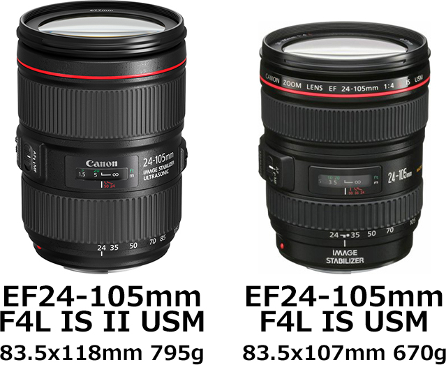 「EF24-105mm F4L IS II USM」と「EF24-105mm F4L IS USM」 1