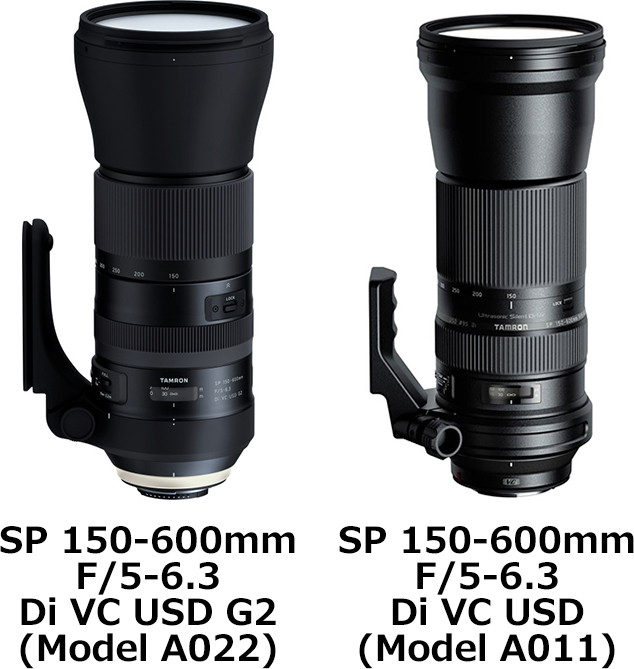 「SP 150-600mm F/5-6.3 Di VC USD G2 (Model A022)」と「SP 150-600mm F/5-6.3 Di VC USD (Model A011)」 1