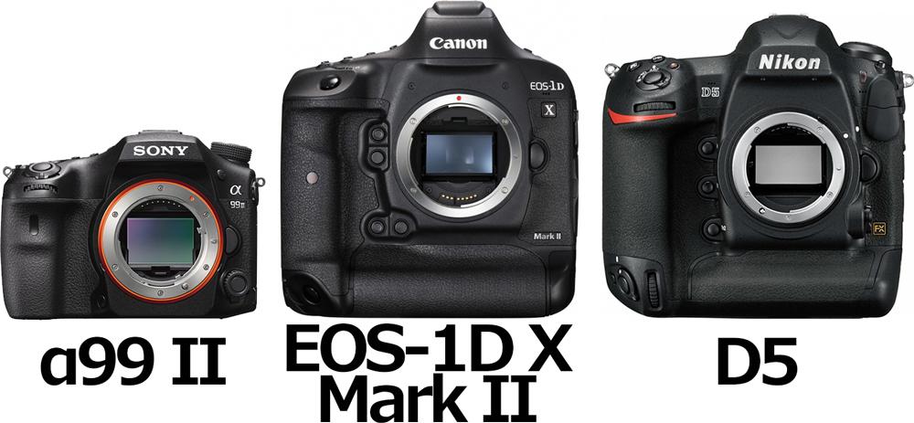 「α99 II」と「EOS-1D X Mark II」と「D5」 1