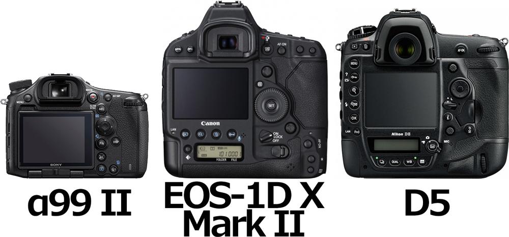「α99 II」と「EOS-1D X Mark II」と「D5」 2