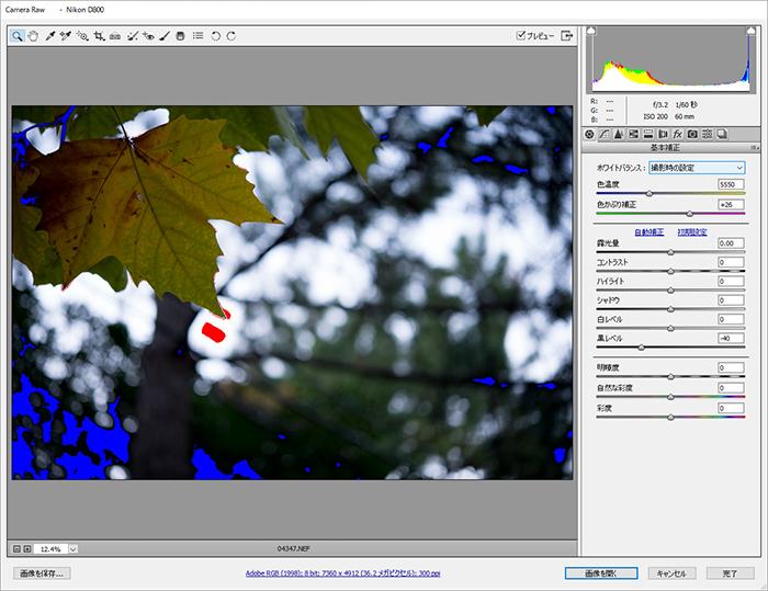 「Camera Raw」で白飛び・黒潰れを確認する方法 4