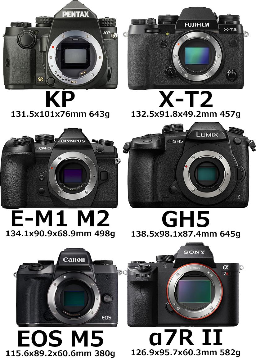 「PENTAX KP」と「X-T2」と「E-M1 Mark II」と「GH5」と「M5」と「α7R II」 1