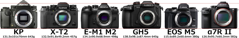 「PENTAX KP」と「X-T2」と「E-M1 Mark II」と「GH5」と「M5」と「α7R II」 4