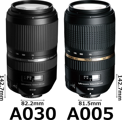 「SP 70-300mm F/4-5.6 Di VC USD (Model A030)」と「SP 70-300mm F/4-5.6 Di VC USD (Model A005)」 1