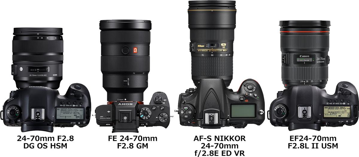 「24-70mm F2.8 DG OS HSM」と「FE 24-70mm F2.8 GM」と「AF-S NIKKOR 24-70mm f/2.8E ED VR」と「EF24-70mm F2.8L II USM」