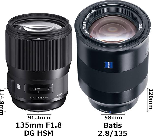 「135mm F1.8 DG HSM」と「Batis 2.8/135」 1