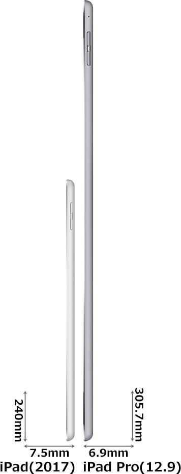 「iPad(2017)」と「iPad Pro(12.9インチ)」 3