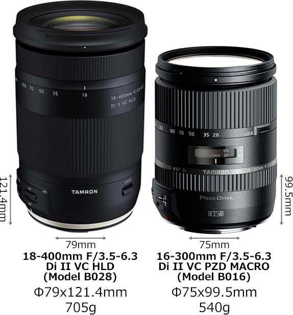 「18-400mm F/3.5-6.3 Di II VC HLD (Model B028)」と「16-300mm F/3.5-6.3 Di II VC PZD MACRO (Model B016)」 1