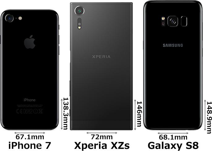 「Xperia XZs」と「Galaxy S8」と「iPhone 7」 2