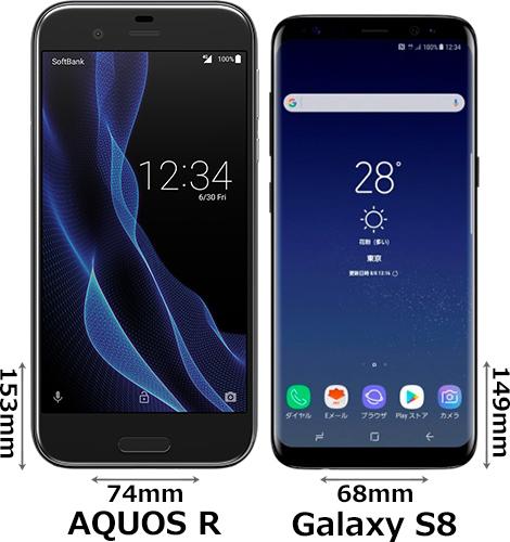 「AQUOS R」と「Galaxy S8」 1