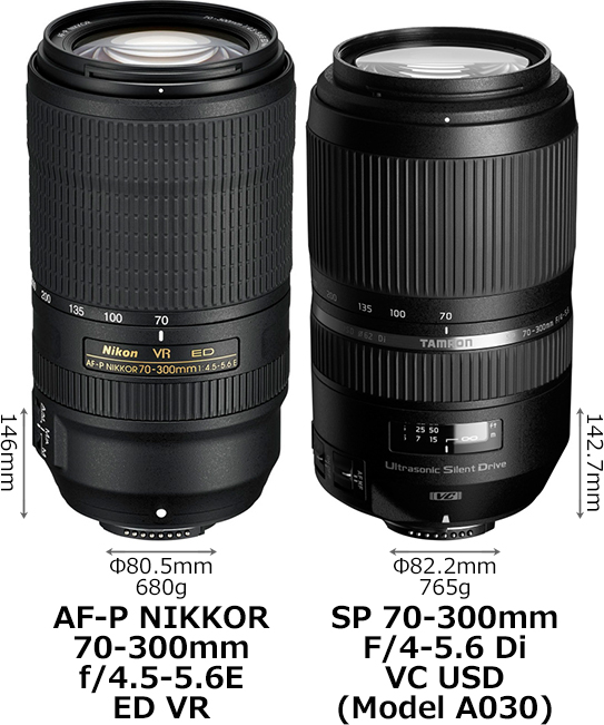 「AF-P NIKKOR 70-300mm f/4.5-5.6E ED VR」と「SP 70-300mm F/4-5.6 Di VC USD (Model A030)」 1