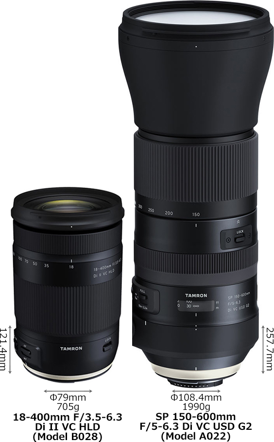 「18-400mm F/3.5-6.3 Di II VC HLD (Model B028)」と「SP 150-600mm F/5-6.3 Di VC USD G2 (Model A022)」 1
