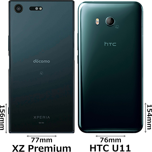 「Xperia XZ Premium」と「HTC U11」 2