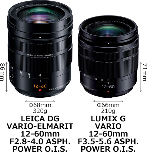 「LEICA 12-60mm F2.8-4」と「LUMIX G 12-60mm F3.5-5.6」 1