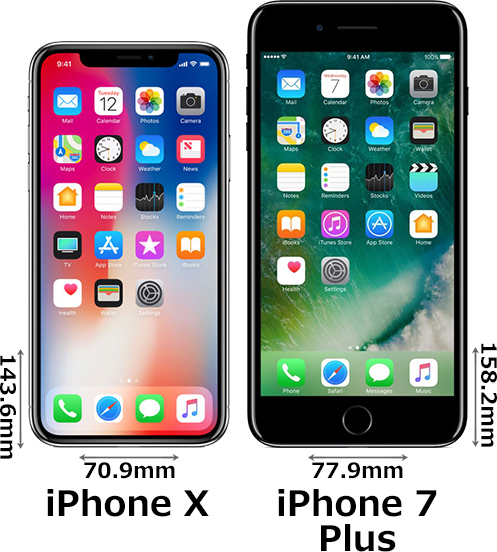 「iPhone X」と「iPhone 7 Plus」 1