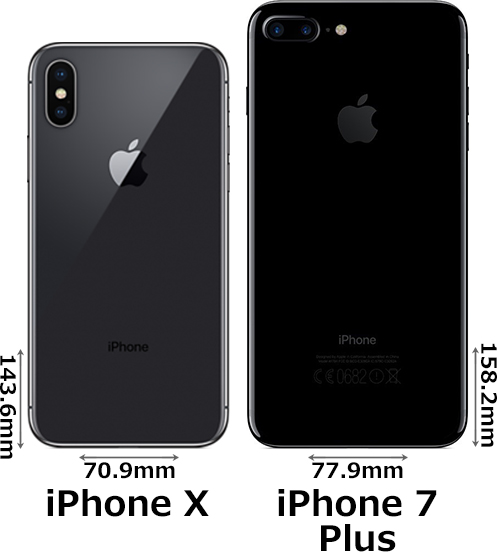 「iPhone X」と「iPhone 7 Plus」 2