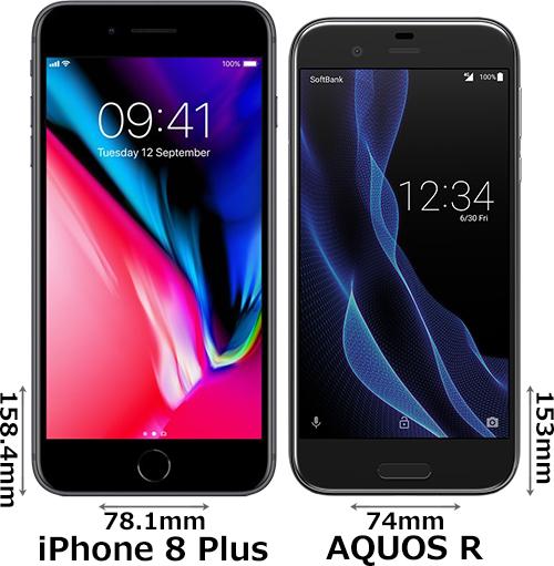 「iPhone 8 Plus」と「AQUOS R」 1