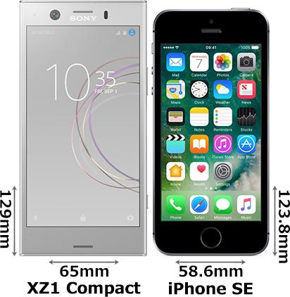 「Xperia XZ1 Compact」と「iPhone SE」 1