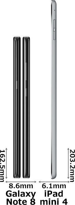 「Galaxy Note 8」と「iPad mini 4」 3