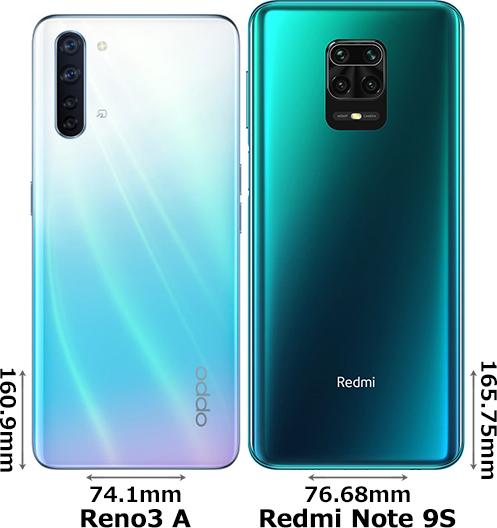 「OPPO Reno3 A」と「Redmi Note 9S」 2
