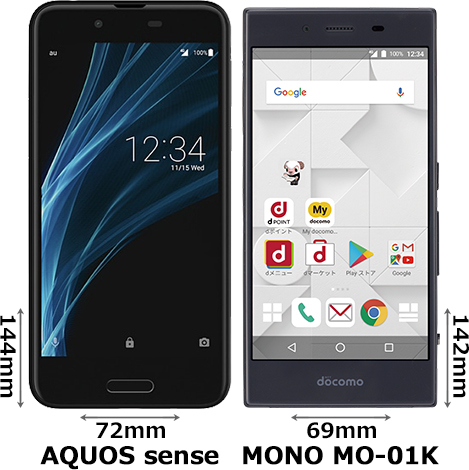 「AQUOS sense」と「MONO MO-01K」 1