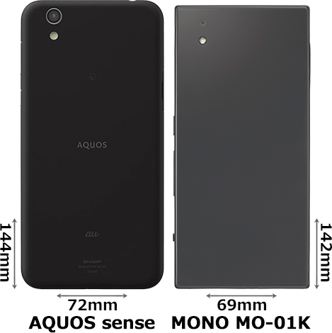 「AQUOS sense」と「MONO MO-01K」 2