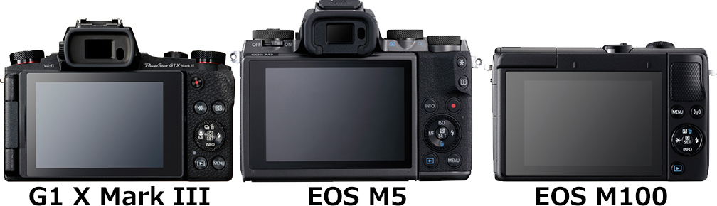 「PowerShot G1 X Mark III」と「EOS M5 EF-M15-45 IS STM」と「EOS M100 EF-M15-45 IS STM」 2