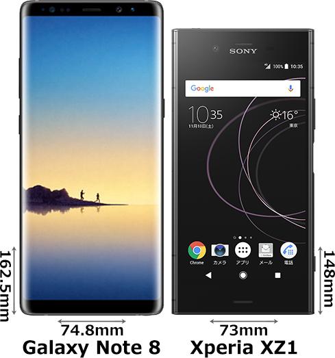 「Galaxy Note 8」と「Xperia XZ1」 1