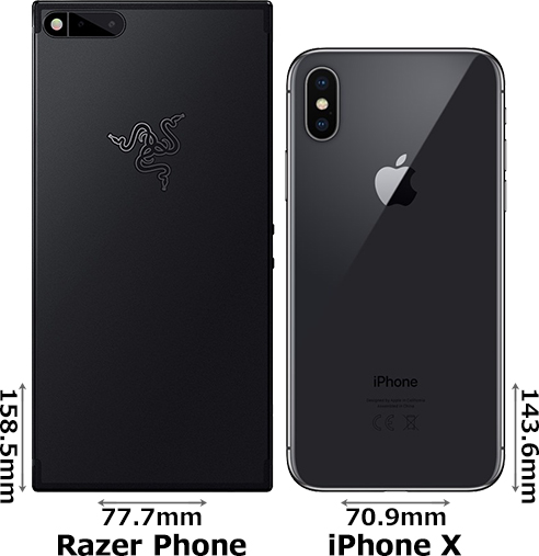 「Razer Phone」と「iPhone X」 2