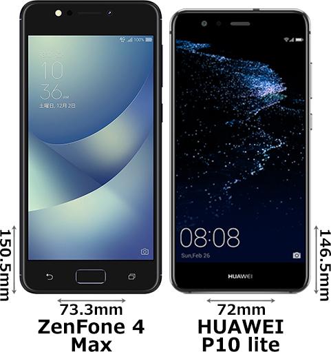 「ZenFone 4 Max」と「HUAWEI P10 lite」 1