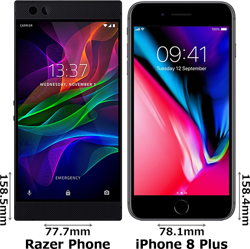 「Razer Phone」と「iPhone 8 Plus」 1