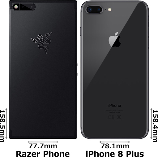 「Razer Phone」と「iPhone 8 Plus」 2