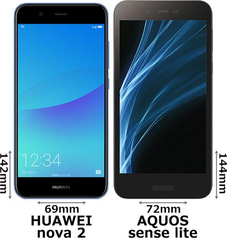 「HUAWEI nova 2」と「AQUOS sense lite」 1