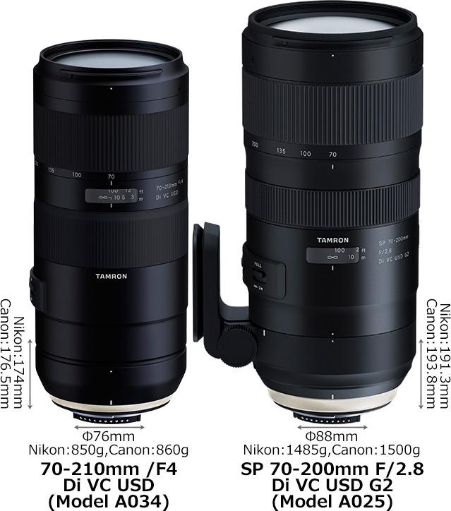 「70-210mm /F4 Di VC USD (Model A034)」と「SP 70-200mm F/2.8 Di VC USD G2 (Model A025)」 1