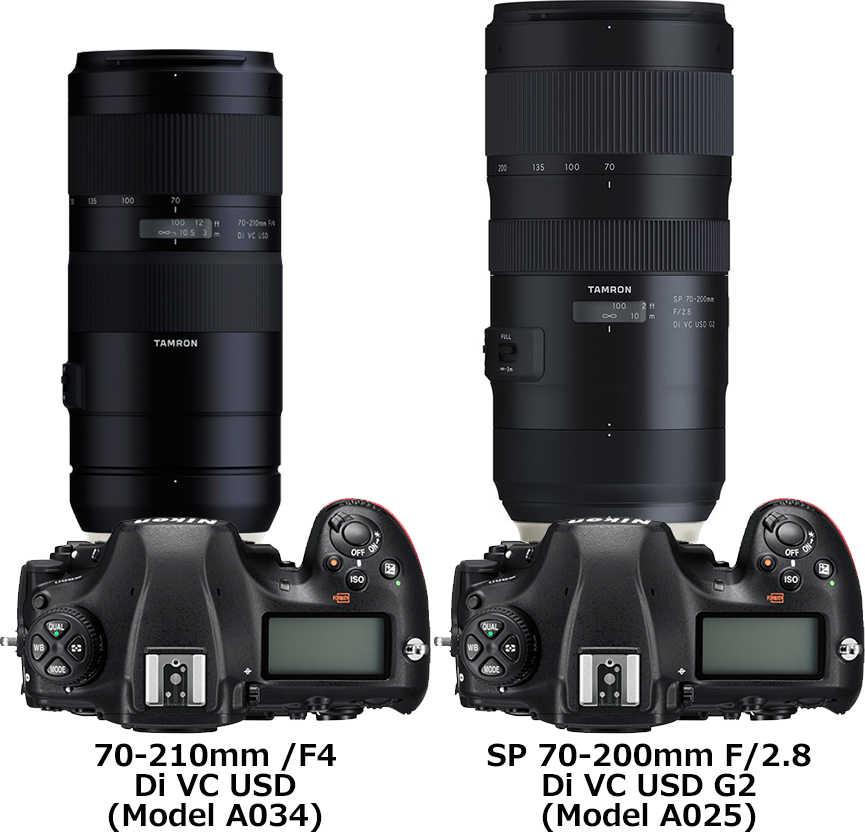 「70-210mm /F4 Di VC USD (Model A034)」と「SP 70-200mm F/2.8 Di VC USD G2 (Model A025)」 2