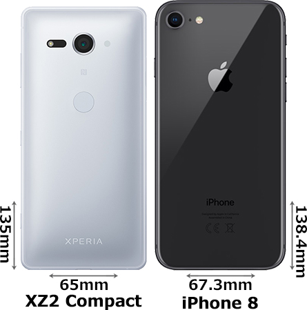 「Xperia XZ2 Compact」と「iPhone 8」 2