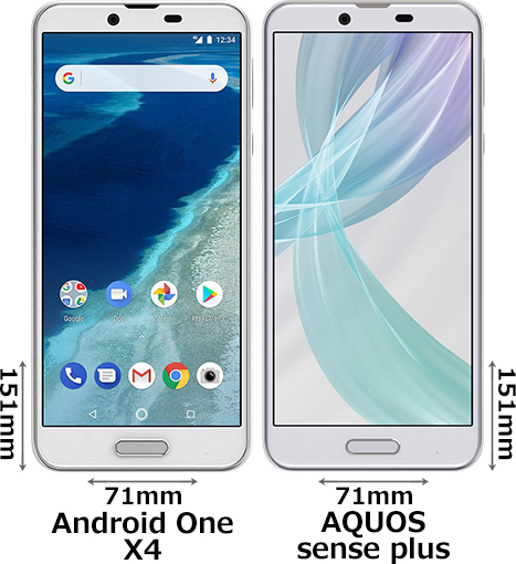 「Android One X4」と「AQUOS sense plus」 1