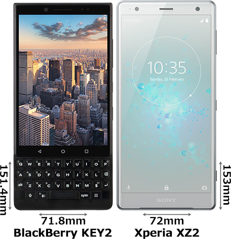 「BlackBerry KEY2」と「Xperia XZ2」 1