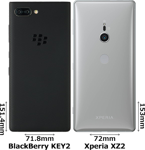 「BlackBerry KEY2」と「Xperia XZ2」 2