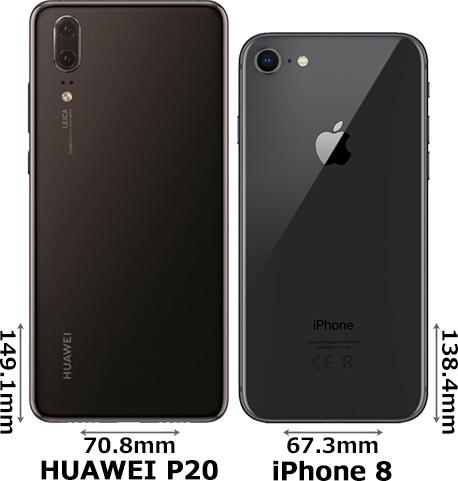 「HUAWEI P20」と「iPhone 8」 2