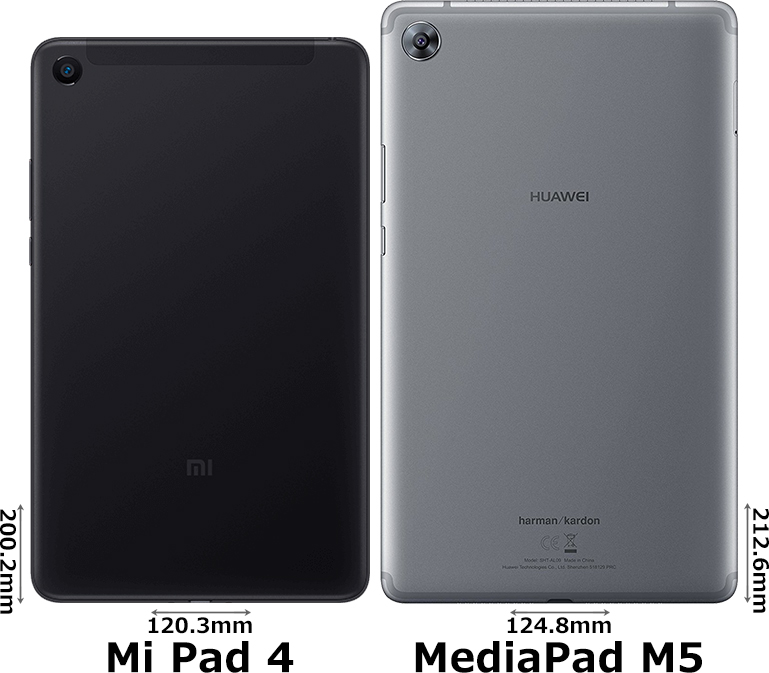 「Mi Pad 4」と「MediaPad M5 8.4」 2