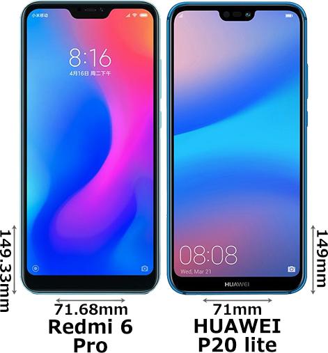 「Redmi 6 Pro」と「HUAWEI P20 lite」 1