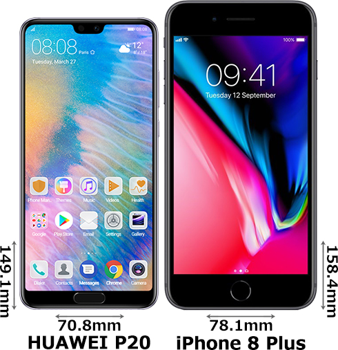 「HUAWEI P20」と「iPhone 8 Plus」 1