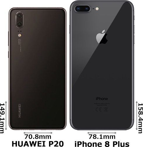 「HUAWEI P20」と「iPhone 8 Plus」 2