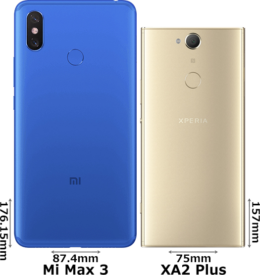 「Mi Max 3」と「Xperia XA2 Plus」 2