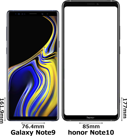 「Galaxy Note9」と「honor Note10」 1