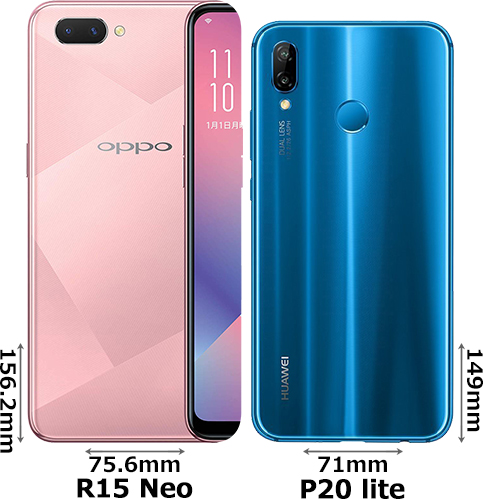 「OPPO R15 Neo」と「HUAWEI P20 lite」 2