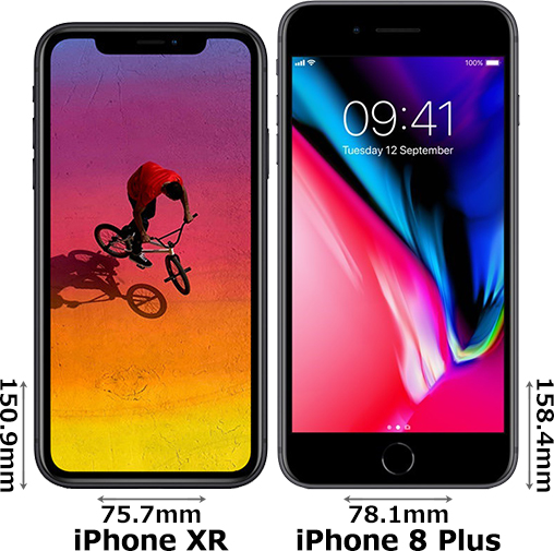 「iPhone XR」と「iPhone 8 Plus」 1