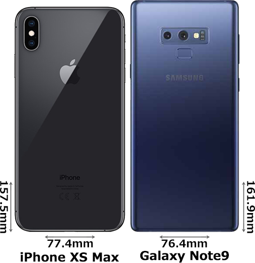 「iPhone XS Max」と「Galaxy Note9」 2